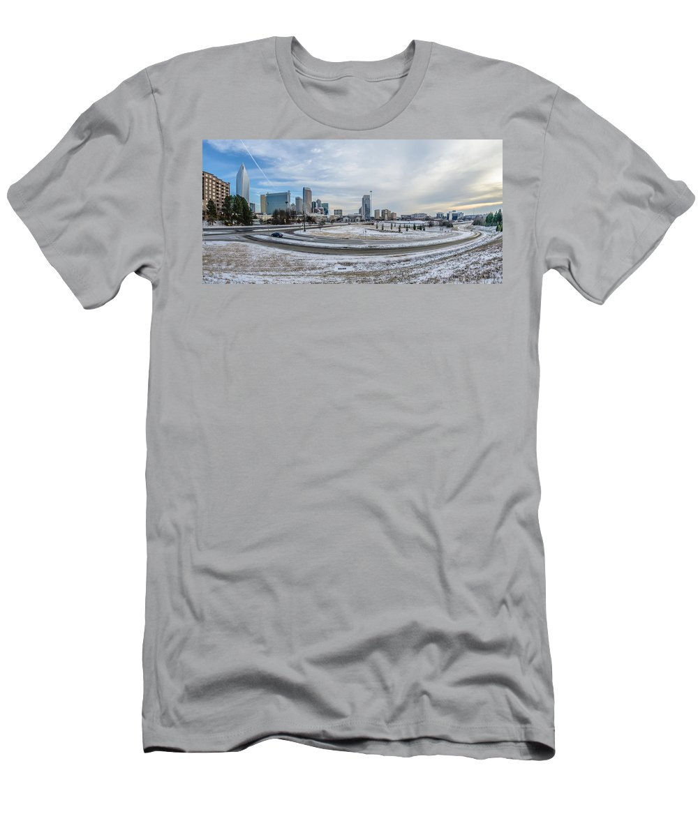 Rare Men's T-Shirt (Athletic Fit) featuring the photograph Charlotte North Carolina Skyline In Winter by Alex Grichenko