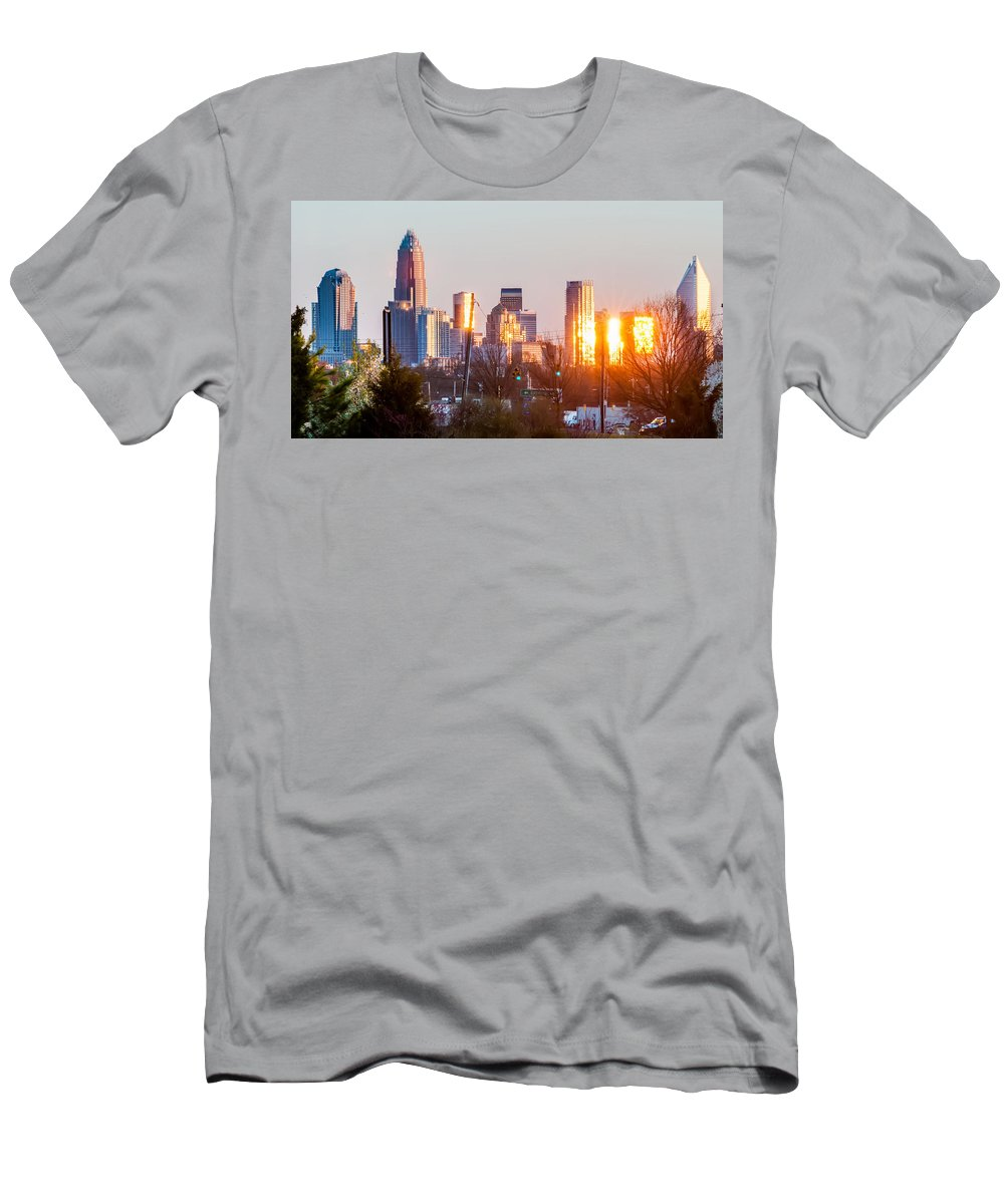 Sunset Men's T-Shirt (Athletic Fit) featuring the photograph Charlotte Skyline In The Evening Before Sunset by Alex Grichenko
