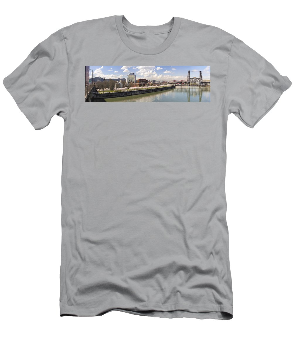 Cherry Men's T-Shirt (Athletic Fit) featuring the photograph Cherry Blossom Along Portland Oregon Waterfront Panorama by Jit Lim