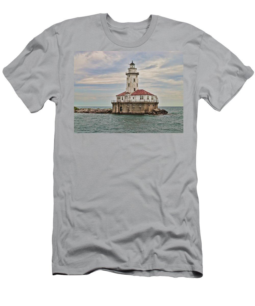 Chicago Harbor Lighthouse Men's T-Shirt (Athletic Fit) featuring the photograph Chicago Harbor Lighthouse by Phyllis Taylor