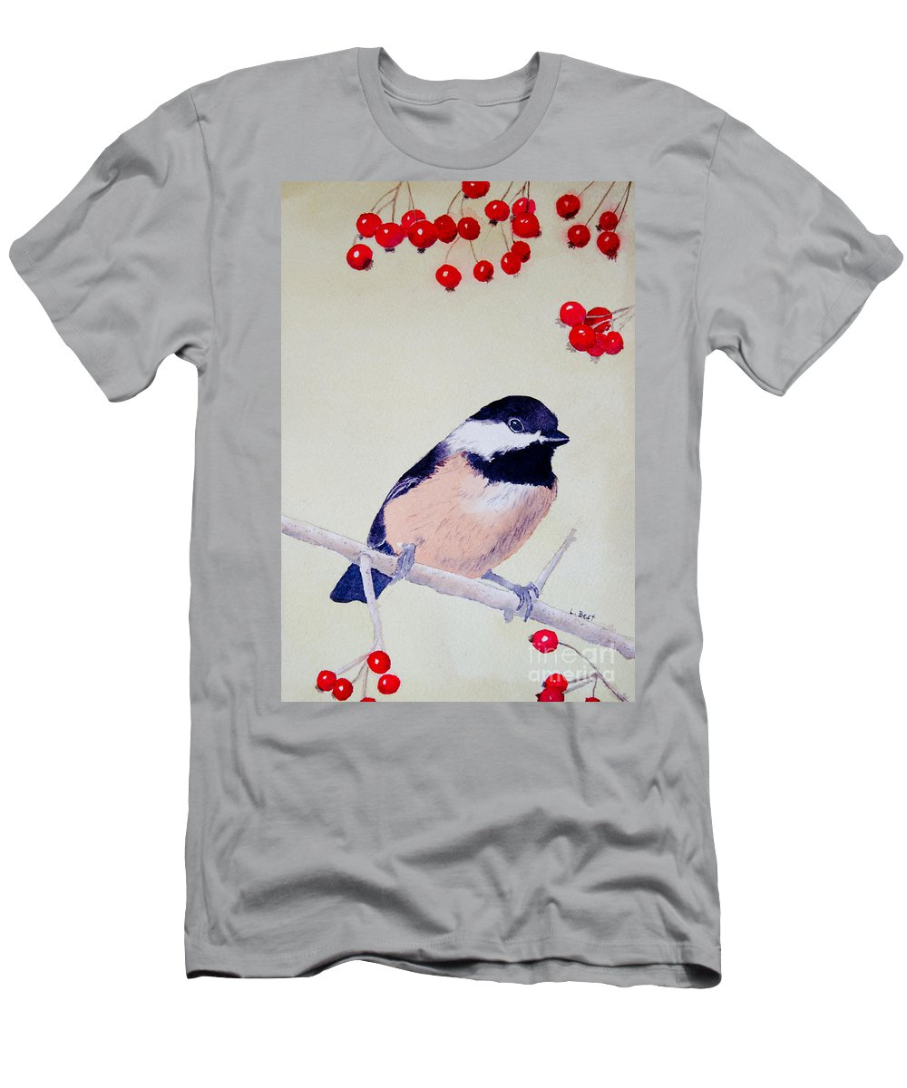 Chickadee Men's T-Shirt (Athletic Fit) featuring the painting Chickadee by Laurel Best