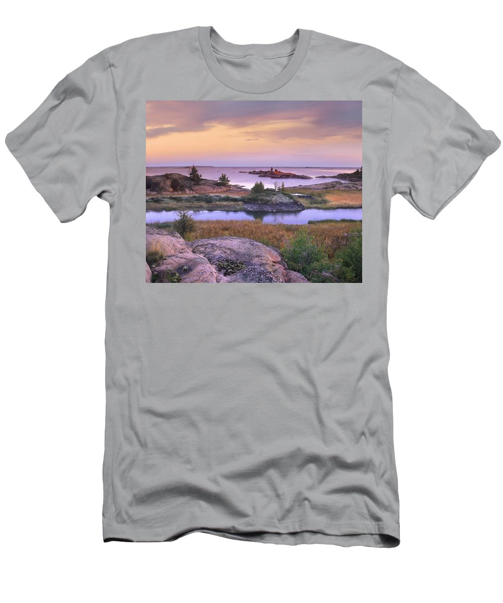 Feb0514 Men's T-Shirt (Athletic Fit) featuring the photograph Chikanishing Creek Killarney Provincial by Tim Fitzharris