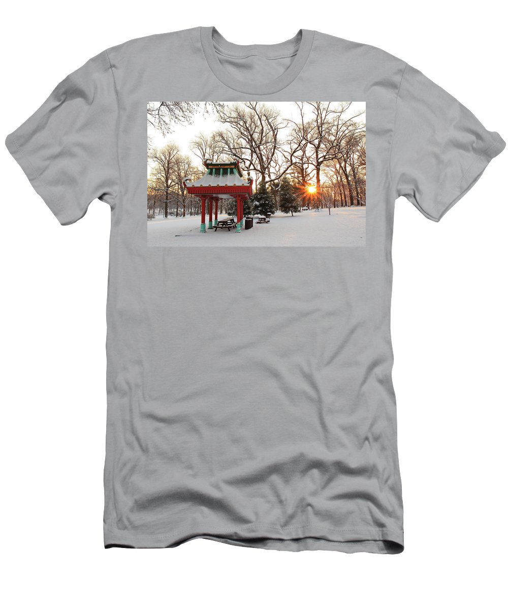 Tower Grove Men's T-Shirt (Athletic Fit) featuring the photograph Chinese Pavilion Winter Sunrise by Scott Rackers
