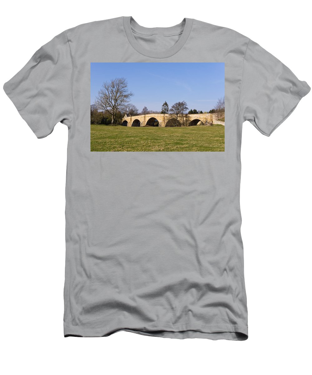 Northumberland Men's T-Shirt (Athletic Fit) featuring the photograph Chollerford Bridge by David Head