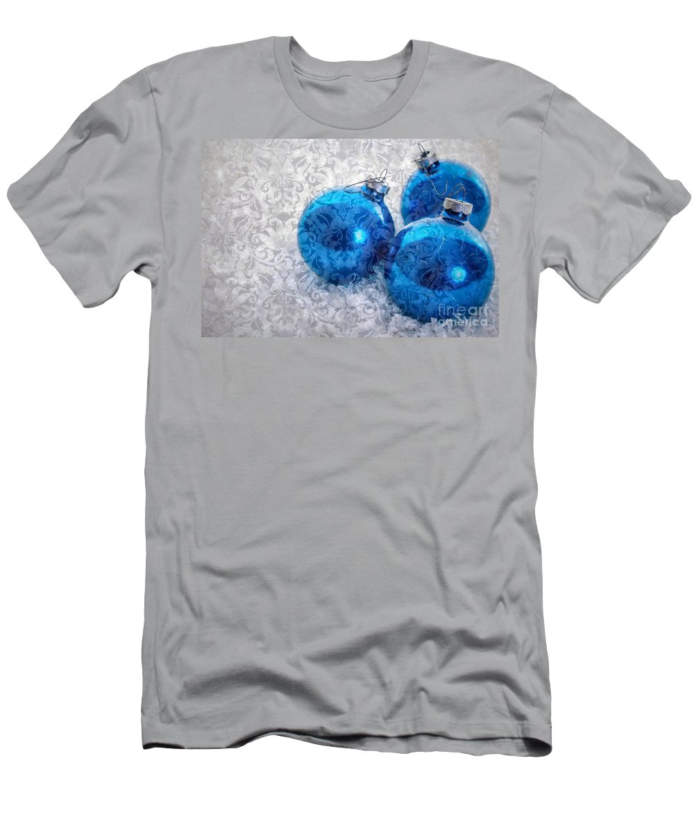 Tree Men's T-Shirt (Athletic Fit) featuring the photograph Christmas Card With Vintage Blue Ornaments by Edward Fielding