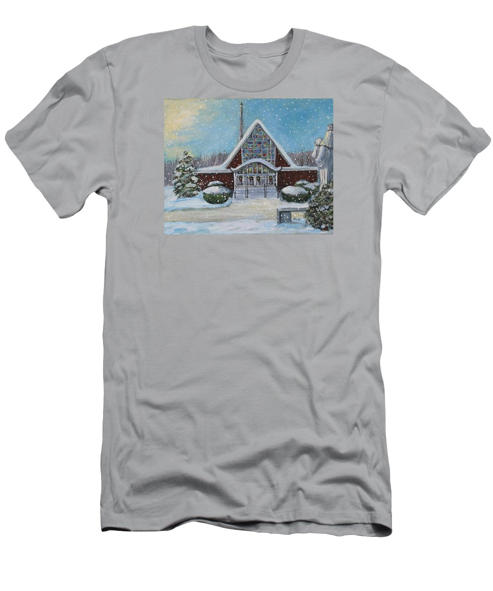 Landscape Men's T-Shirt (Athletic Fit) featuring the painting Christmas Morning At Our Lady's Church by Rita Brown