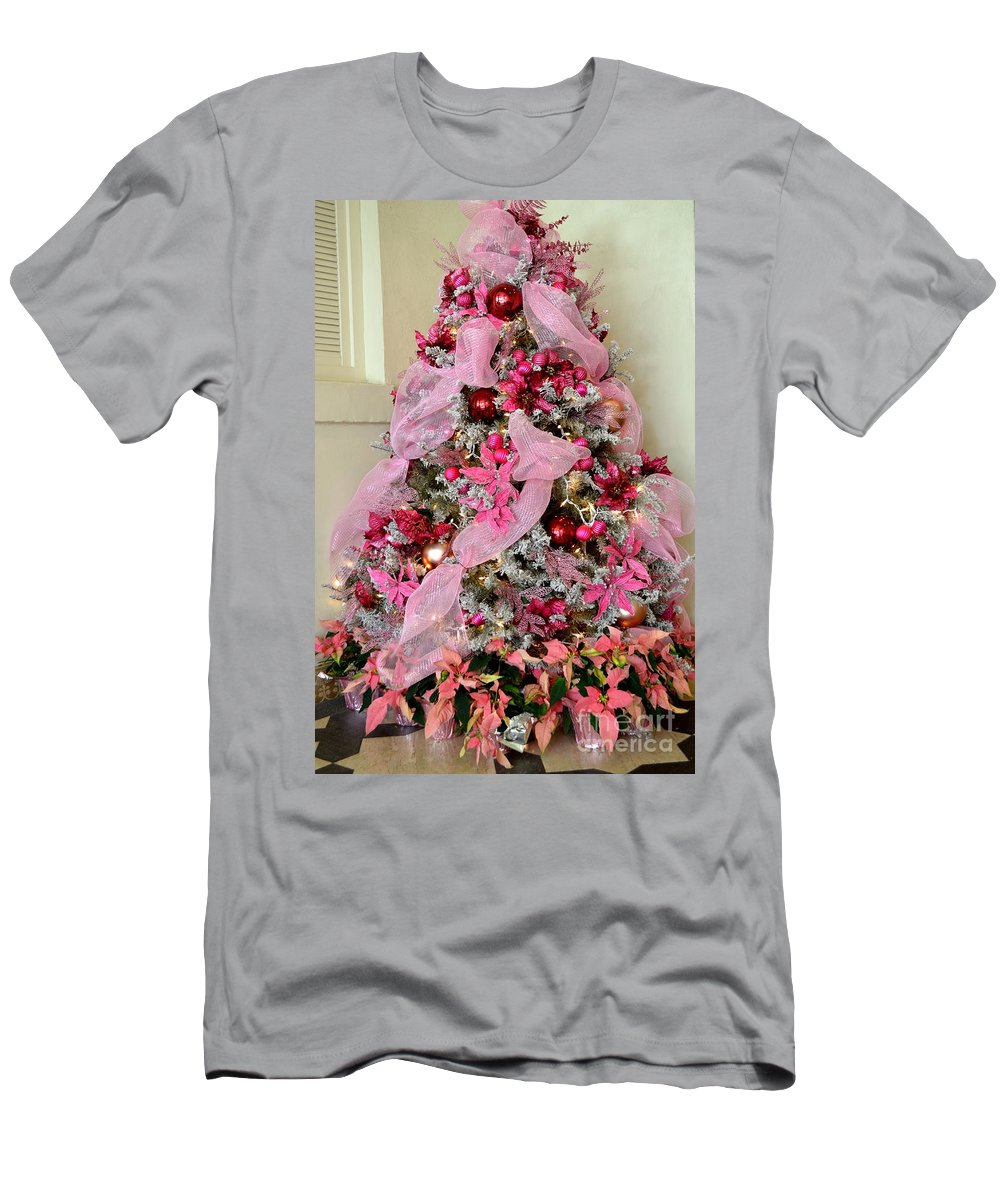 Christmas Men's T-Shirt (Athletic Fit) featuring the photograph Christmas Pink by Mary Deal