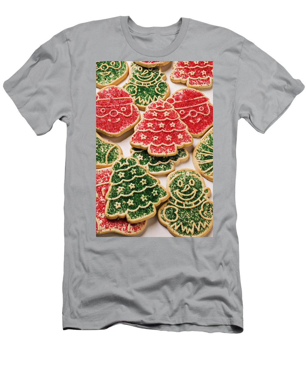 Cookies Men's T-Shirt (Athletic Fit) featuring the photograph Christmas Sugar Cookies by Garry Gay