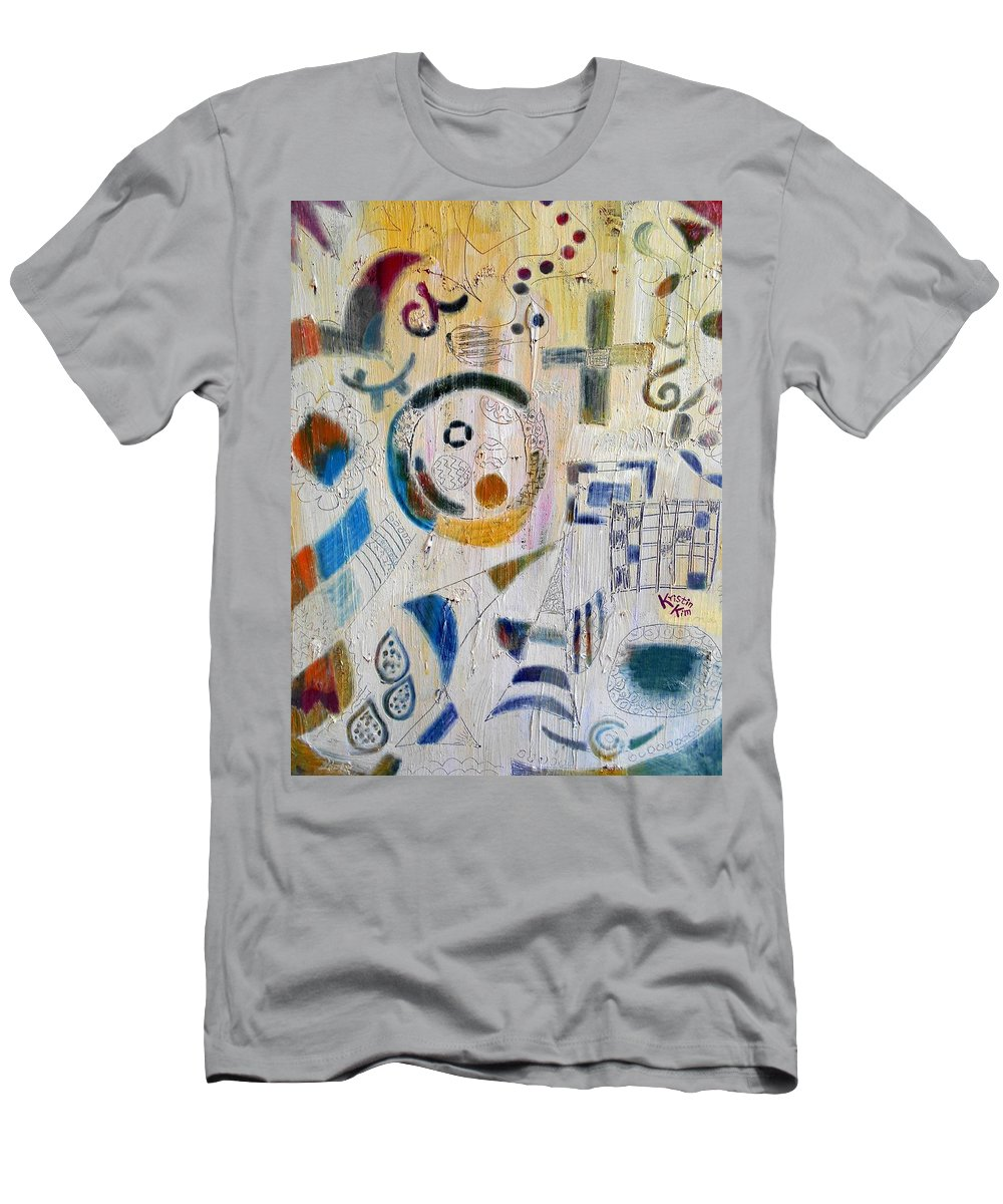 Abstract Of Sunday Morning Atmosphere Men's T-Shirt (Athletic Fit) featuring the painting Church by Kristin Kim