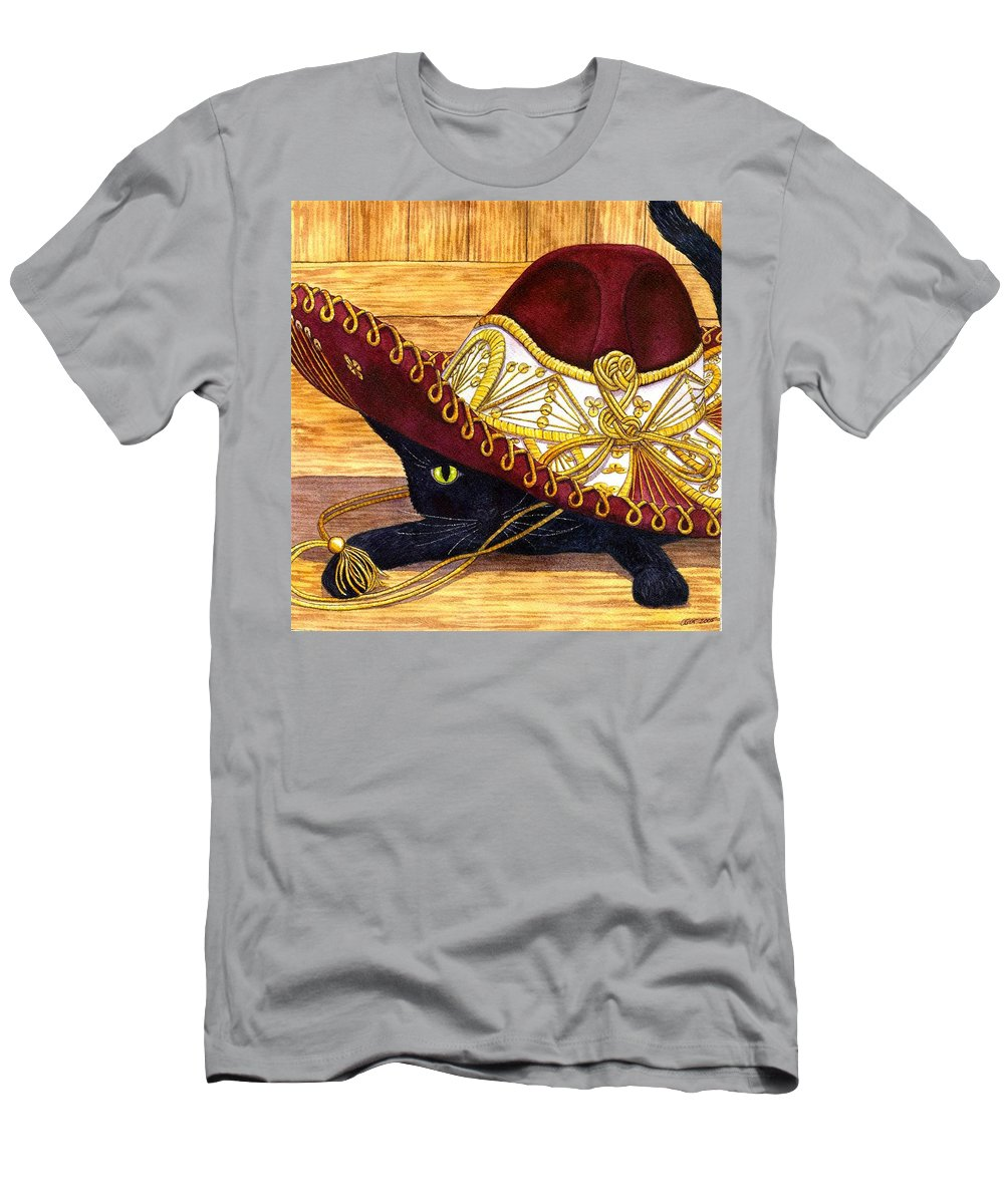 Cat Men's T-Shirt (Athletic Fit) featuring the painting Cinco De Mayo by Catherine G McElroy