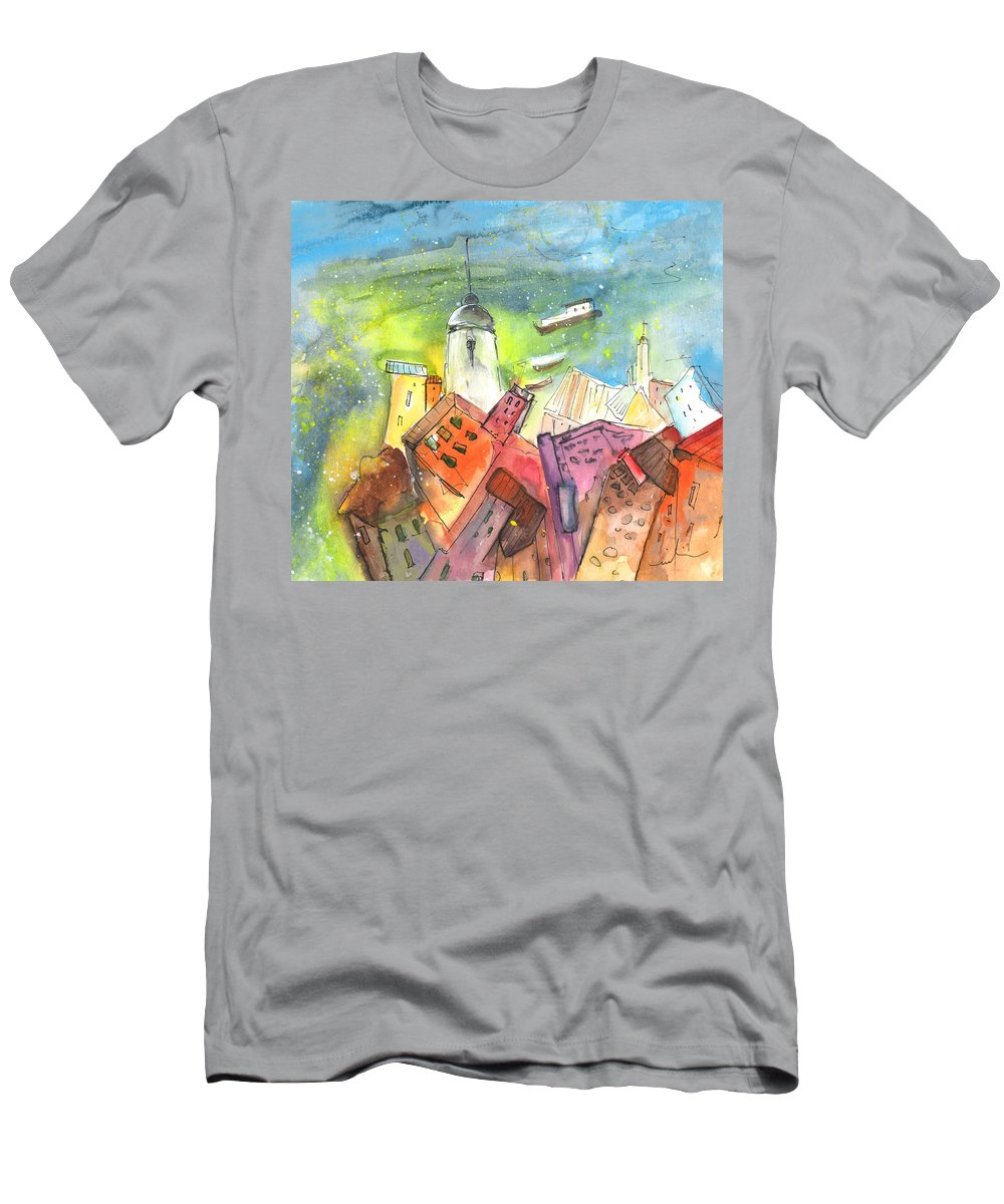 Italy Men's T-Shirt (Athletic Fit) featuring the painting Cinque Terre 03 by Miki De Goodaboom