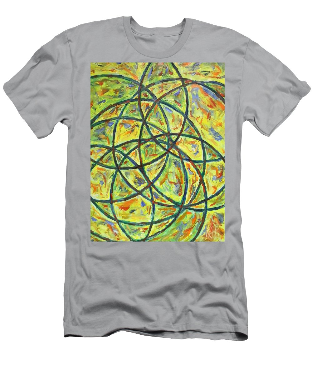 Abstract Men's T-Shirt (Athletic Fit) featuring the painting Circles by Art by Kar