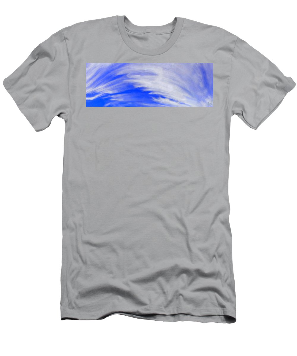 Clouds Men's T-Shirt (Athletic Fit) featuring the painting Cirrus Sky by Bruce Nutting