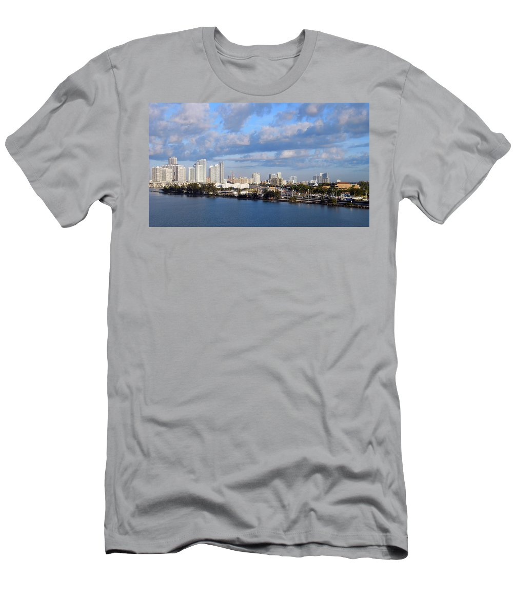 Miami Men's T-Shirt (Athletic Fit) featuring the photograph City By The Sea by Judy Hall-Folde