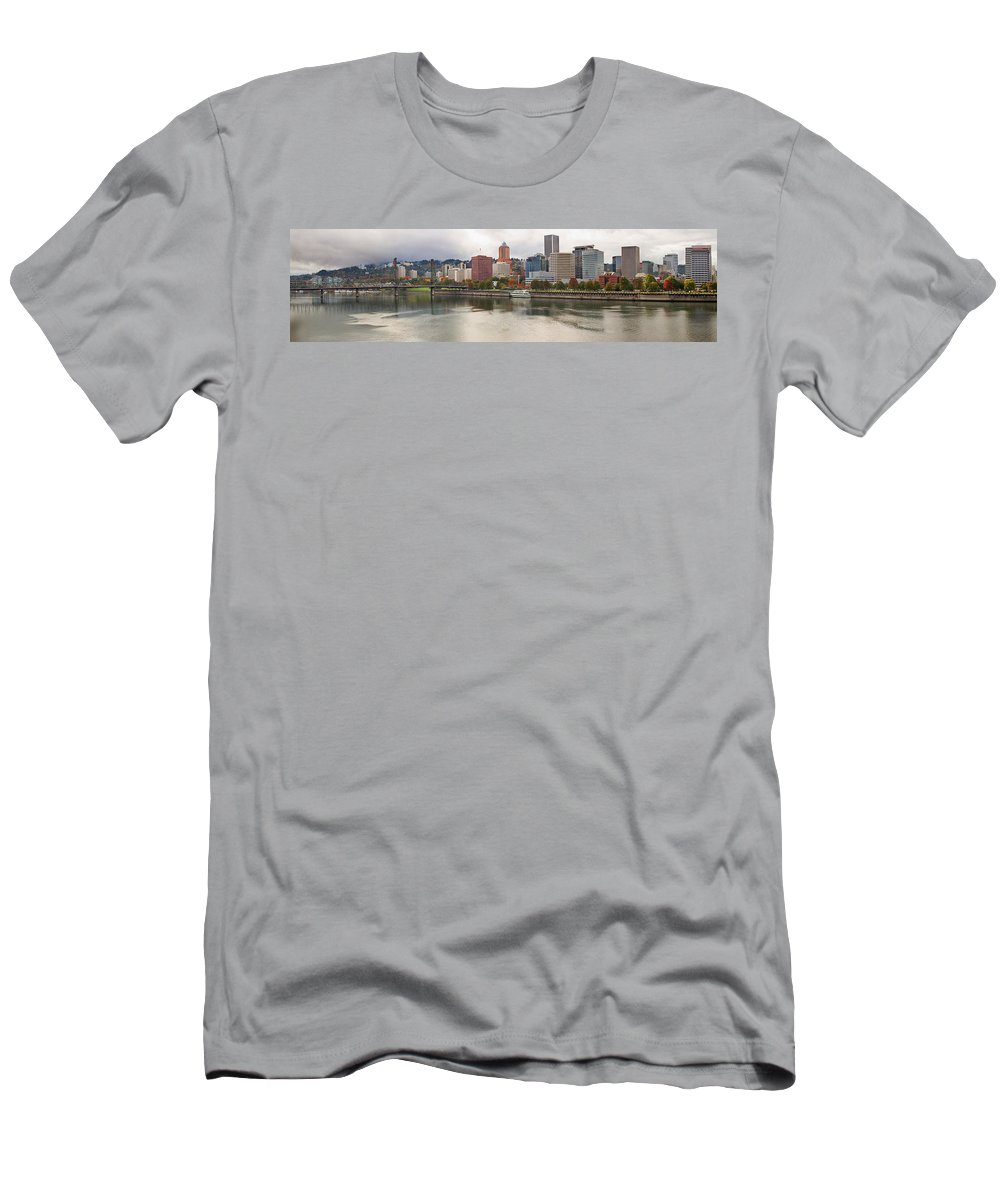 Portland Men's T-Shirt (Athletic Fit) featuring the photograph City Of Portland Oregon In The Fall Panorama by Jit Lim