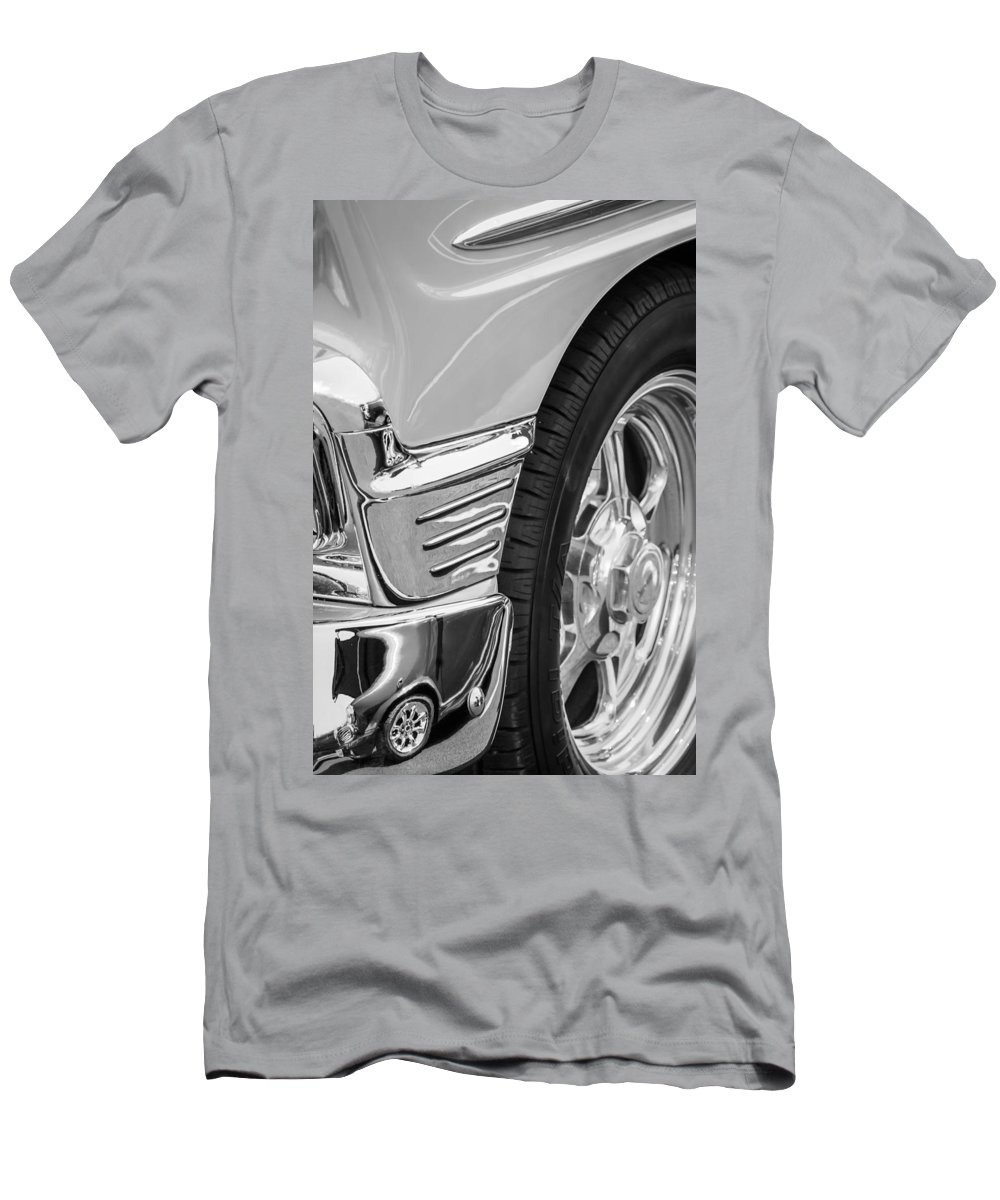 Classic Car Reflections - Training Wheels Men's T-Shirt (Athletic Fit) featuring the photograph Classic Car Reflections - Training Wheels -179bw by Jill Reger