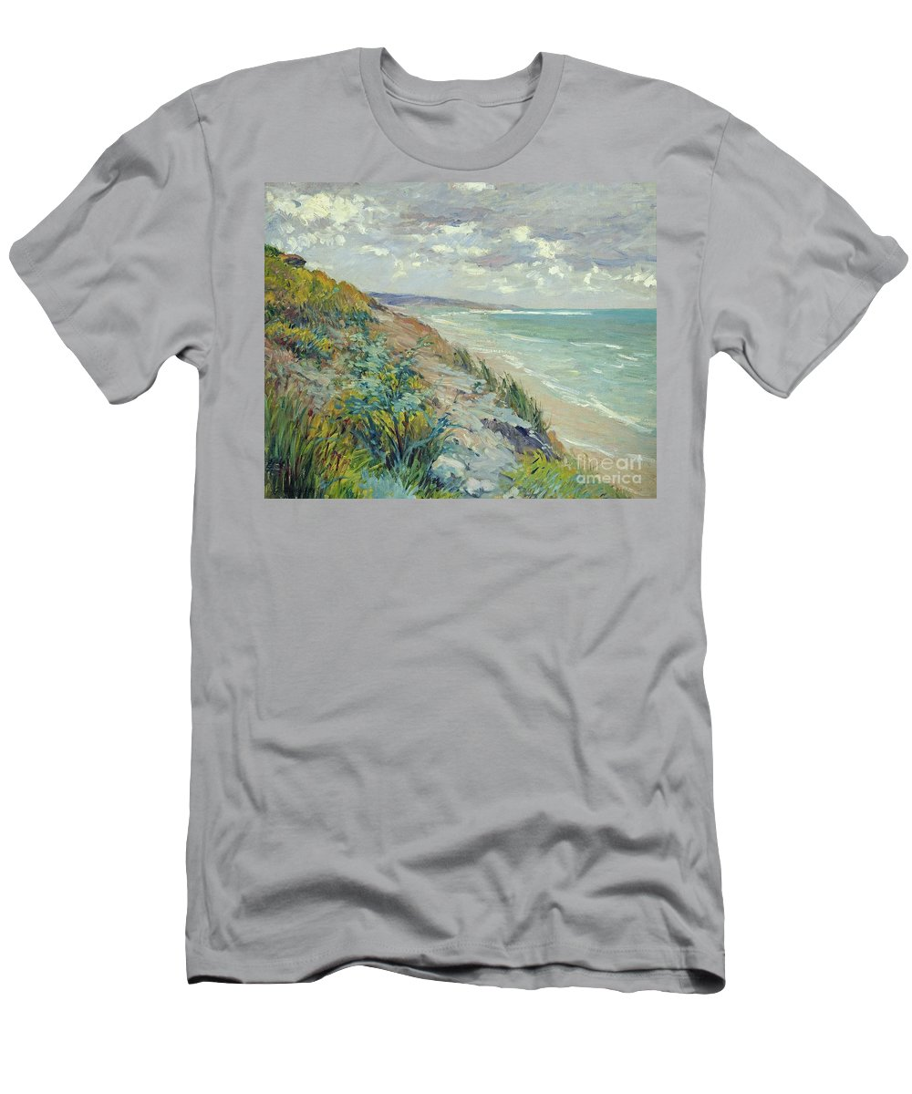 Beach Men's T-Shirt (Athletic Fit) featuring the painting Cliffs By The Sea At Trouville by Gustave Caillebotte