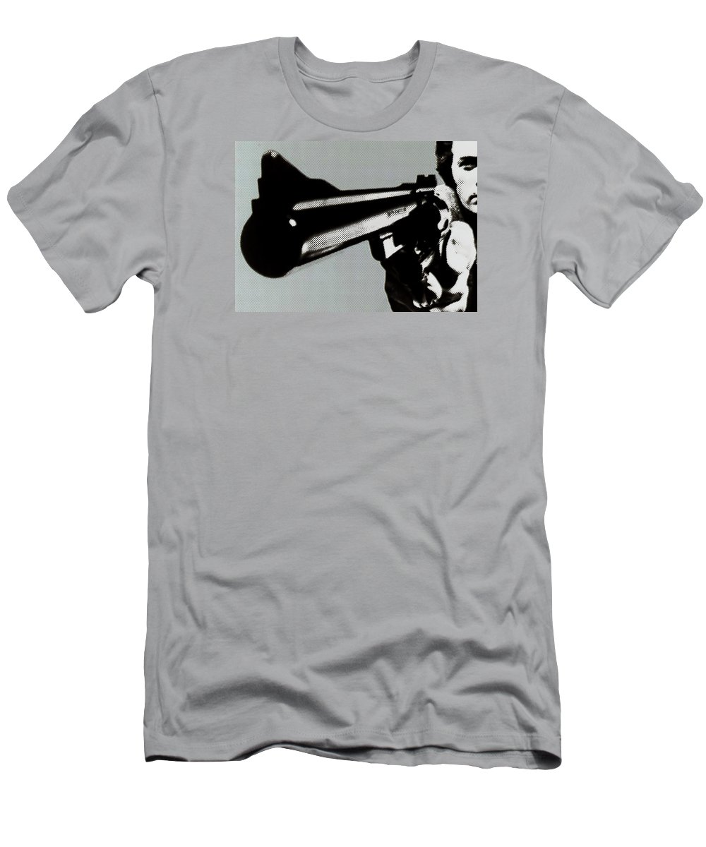 Clint Eastwood Men's T-Shirt (Athletic Fit) featuring the painting Clint Eastwood Big Gun by Tony Rubino