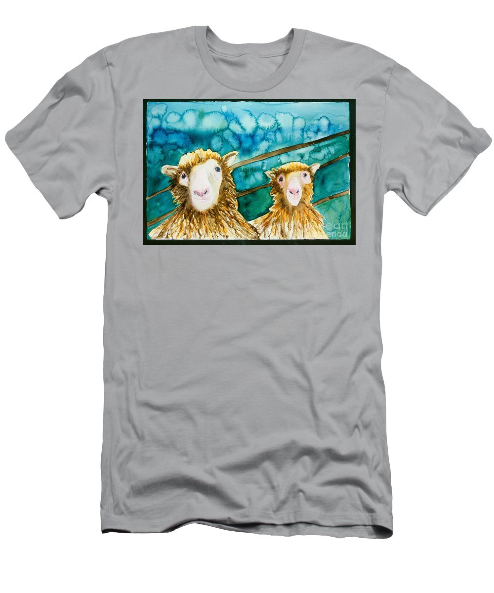 Sheep Men's T-Shirt (Athletic Fit) featuring the painting Cloning Around by Sherry Harradence