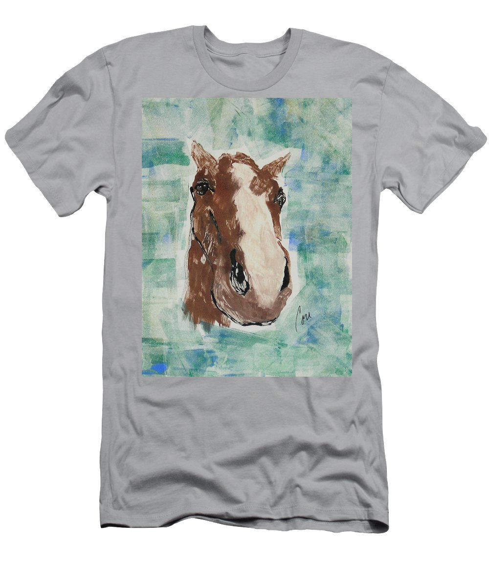 Horse T-Shirt featuring the mixed media Close Up by Cori Solomon