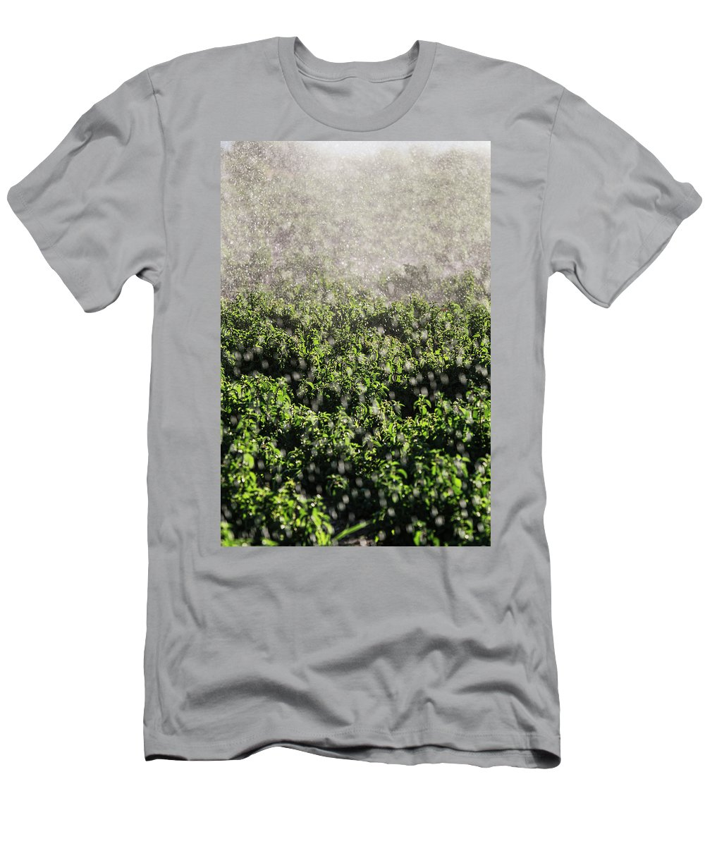 Farm Men's T-Shirt (Athletic Fit) featuring the photograph Close-up Of Water From A Sprinkler by Ron Koeberer