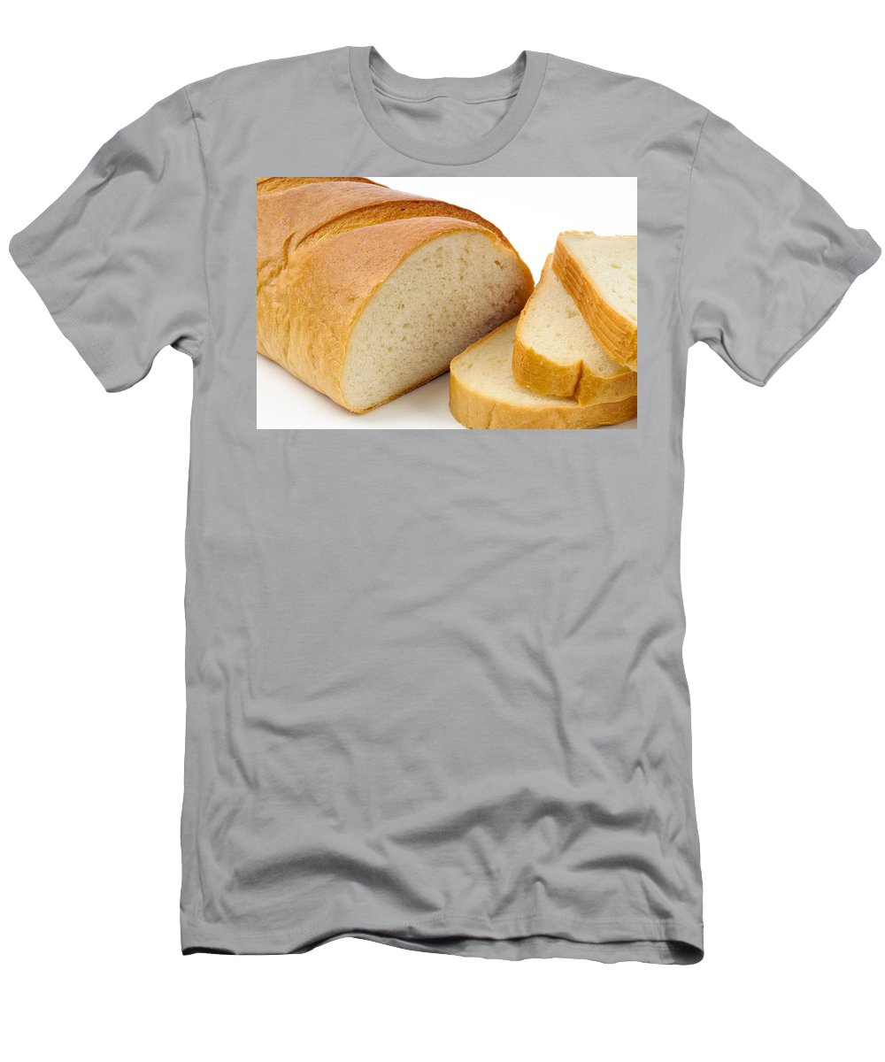 Background Men's T-Shirt (Athletic Fit) featuring the photograph Close-up Of White Bread With Slices by Alain De Maximy