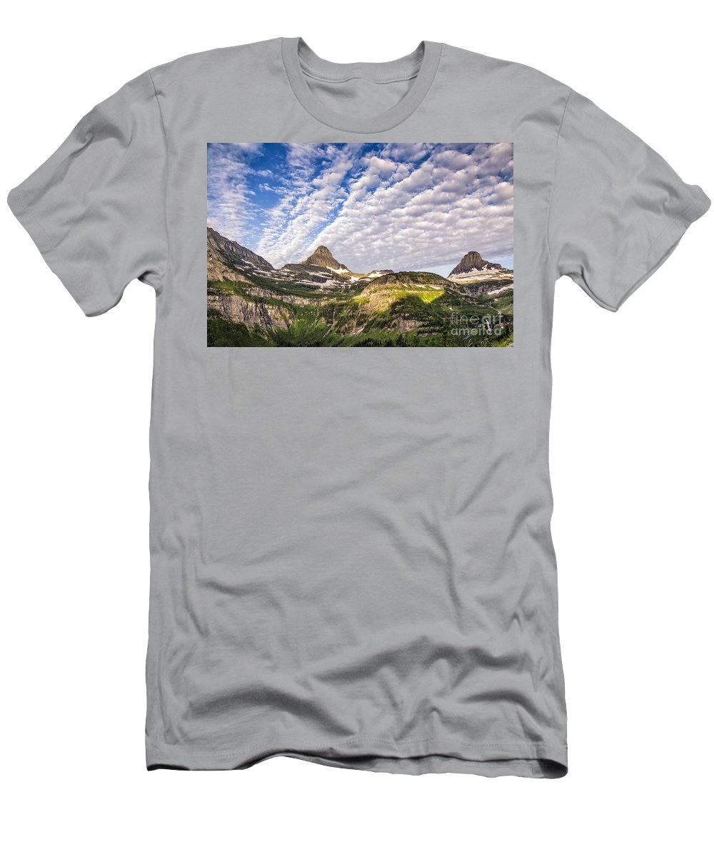 Glacier Men's T-Shirt (Athletic Fit) featuring the photograph Clouds In Glacier by Timothy Hacker