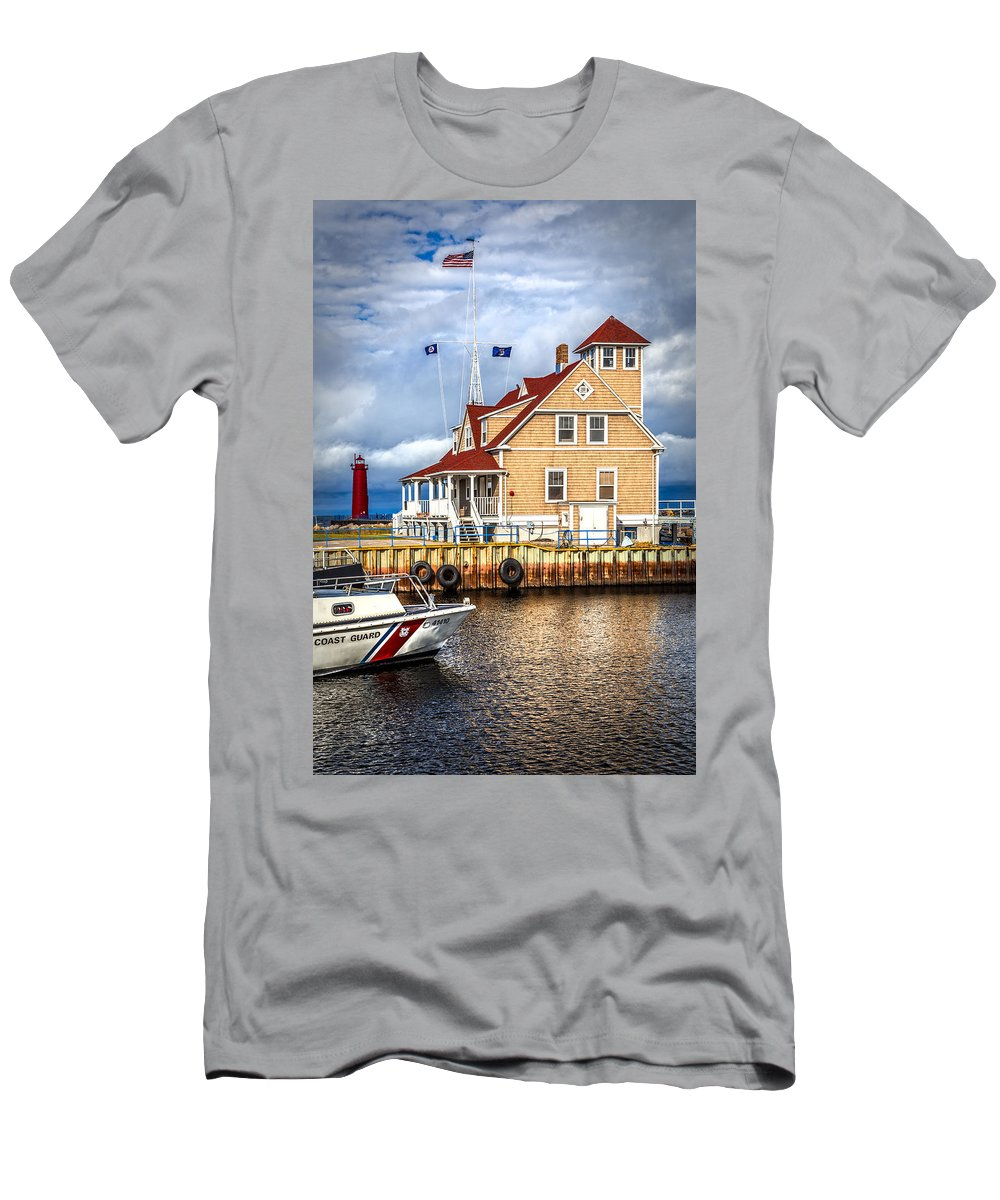 American Men's T-Shirt (Athletic Fit) featuring the photograph Coast Guard Station On Muskegon Lake by Debra and Dave Vanderlaan