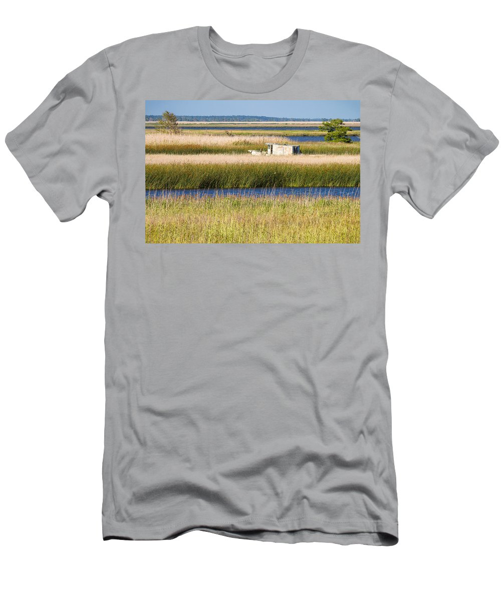 Coastal Landscape Men's T-Shirt (Athletic Fit) featuring the photograph Coastal Marshlands With Old Fishing Boat by Bill Swindaman