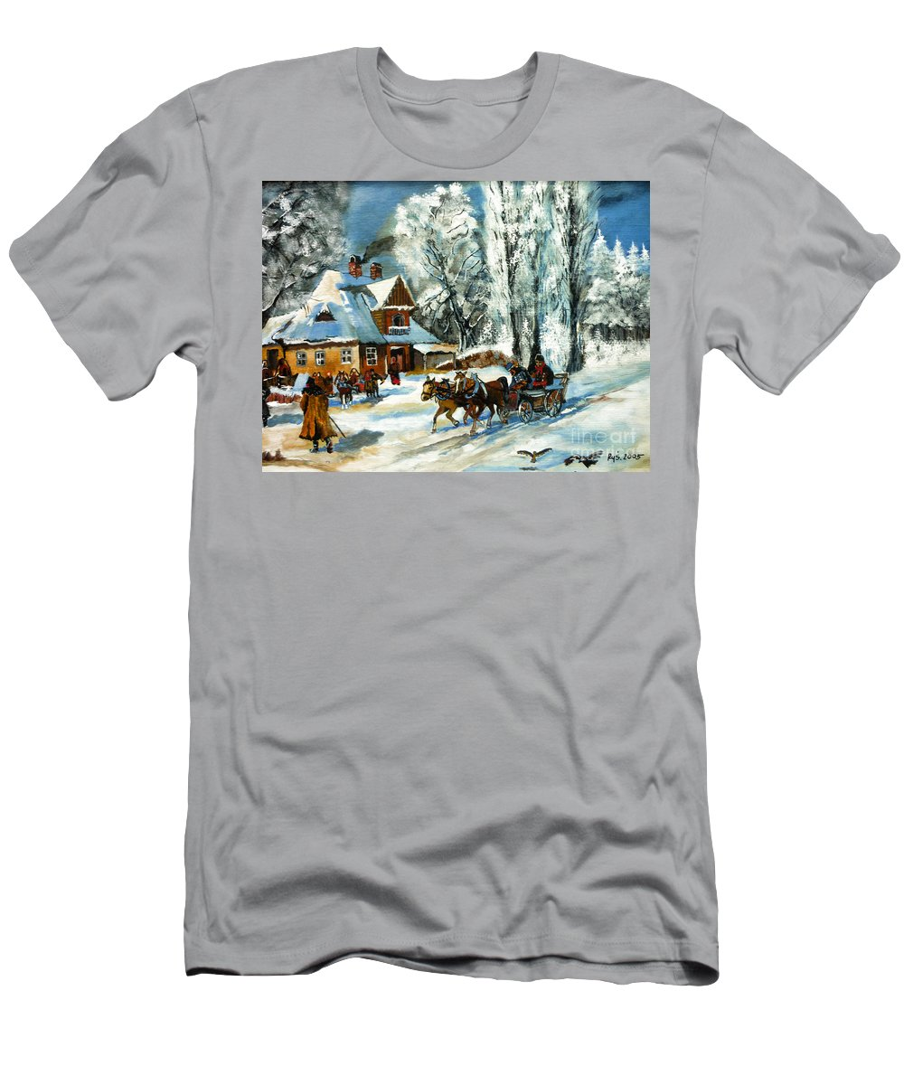 Cold Morning Men's T-Shirt (Athletic Fit) featuring the painting Cold Morning by Ryszard Sleczka