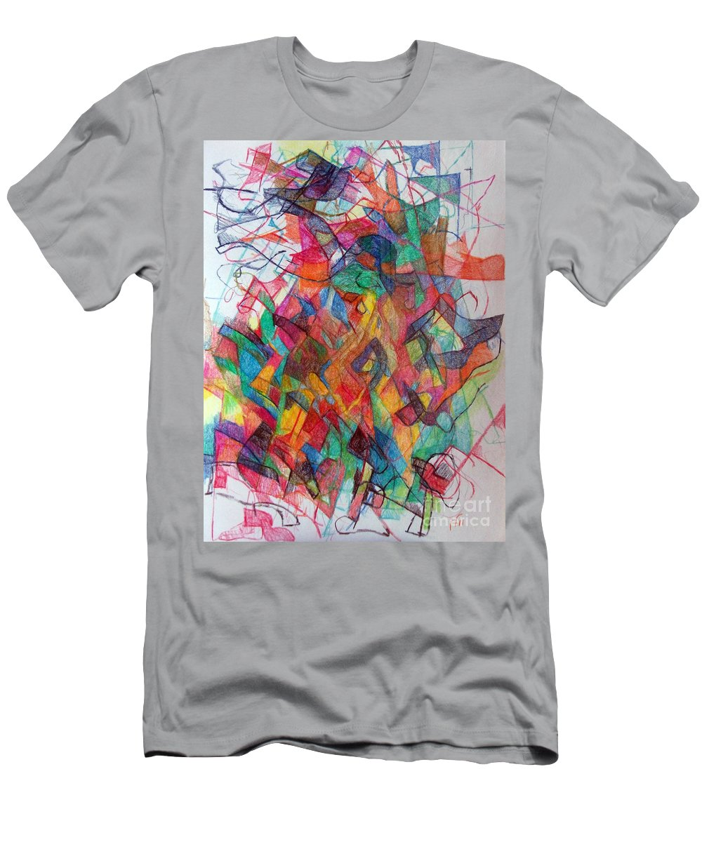 Torah Men's T-Shirt (Athletic Fit) featuring the drawing Collecting Thought 3 by David Baruch Wolk