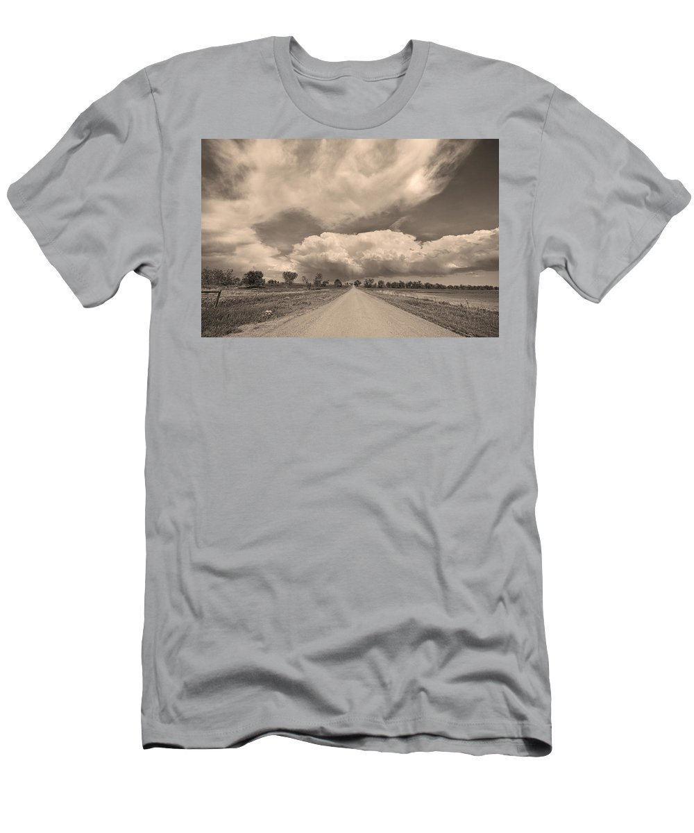 Road Men's T-Shirt (Athletic Fit) featuring the photograph Colorado Country Road Sepia Stormin Skies by James BO Insogna