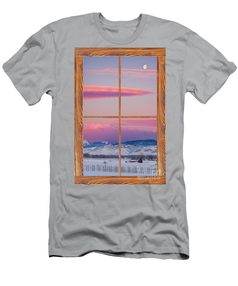 Windows Men's T-Shirt (Athletic Fit) featuring the photograph Colorado Moon Sunrise Barn Wood Picture Window View by James BO Insogna