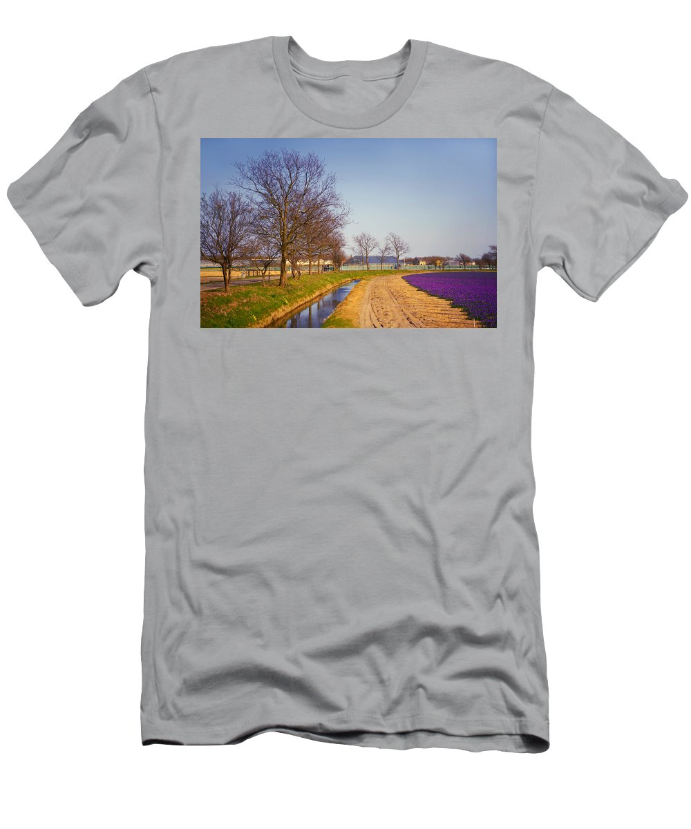 Netherlands Men's T-Shirt (Athletic Fit) featuring the photograph Colorful Fields Of Holland by Jenny Rainbow