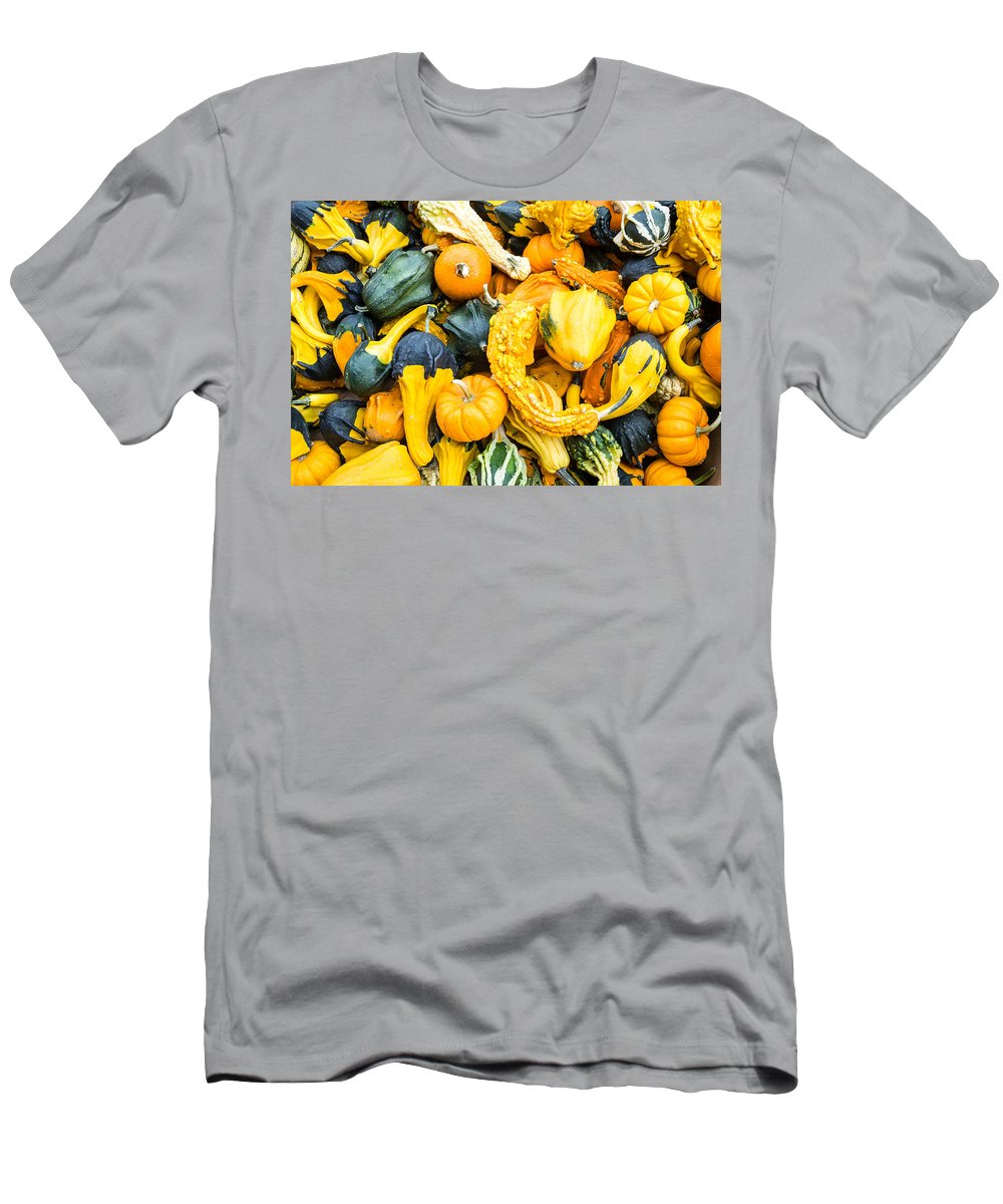 Agriculture Men's T-Shirt (Athletic Fit) featuring the photograph Colorful Gourds by John Trax