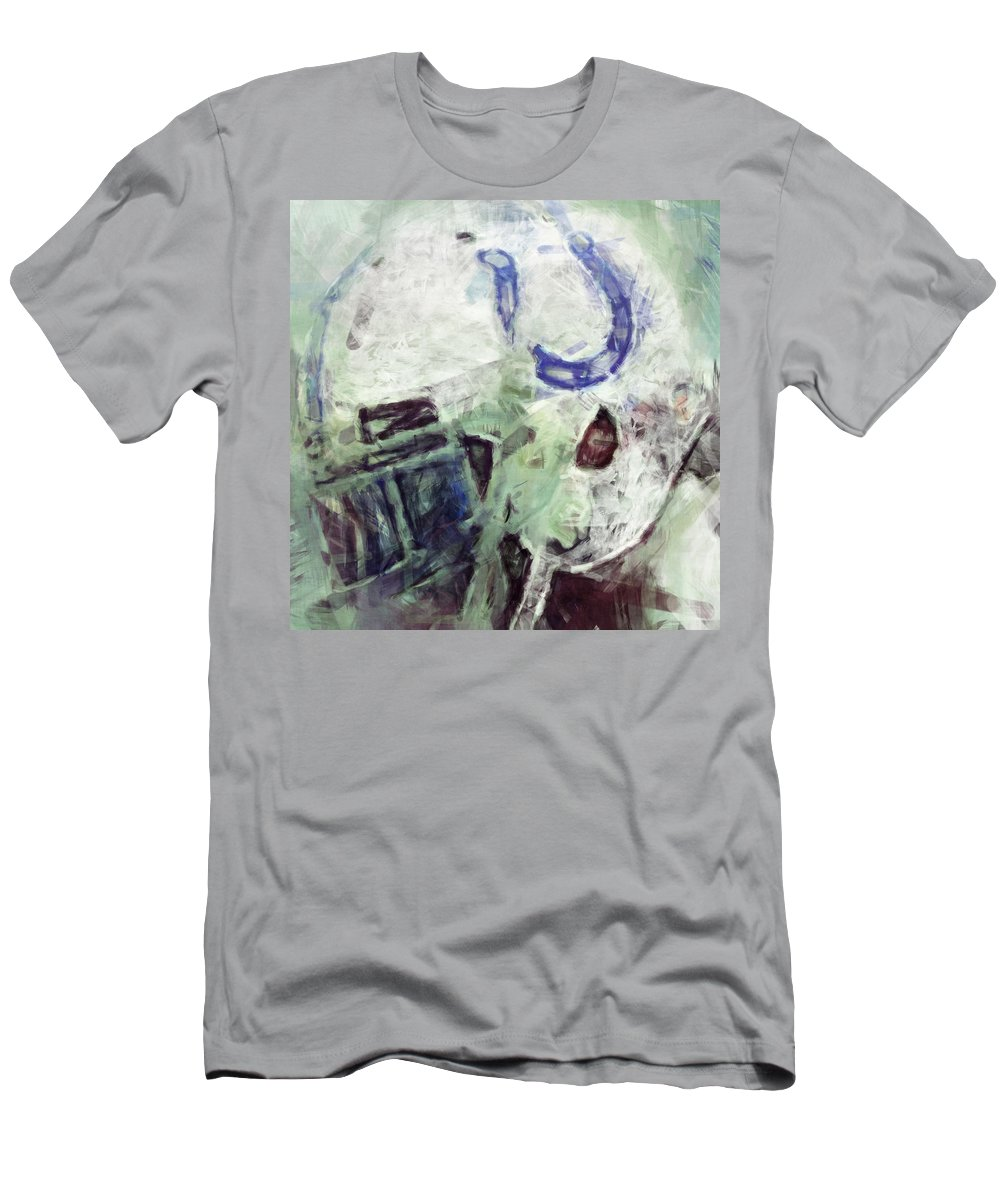 Colts Men's T-Shirt (Athletic Fit) featuring the digital art Colts Player Helmet Abstract by David G Paul