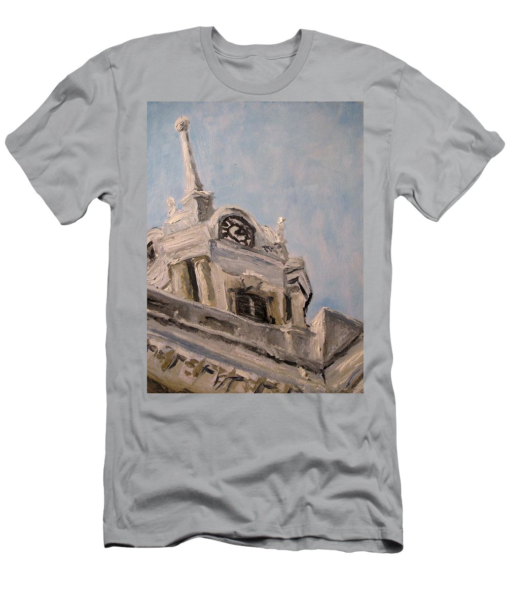 Architecture Men's T-Shirt (Athletic Fit) featuring the painting Columbia Courthouse On A Clear Day by Susan Elizabeth Jones