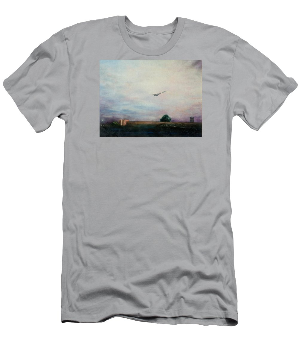 Aircraft Men's T-Shirt (Athletic Fit) featuring the painting Concorde Over London by Douglas Ann Slusher