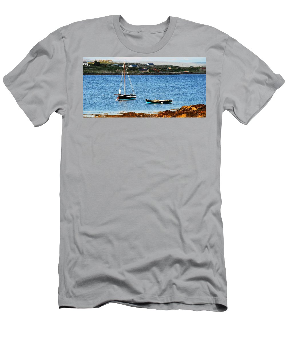 Sailboat Men's T-Shirt (Athletic Fit) featuring the photograph Connemara Boats by Charlie and Norma Brock