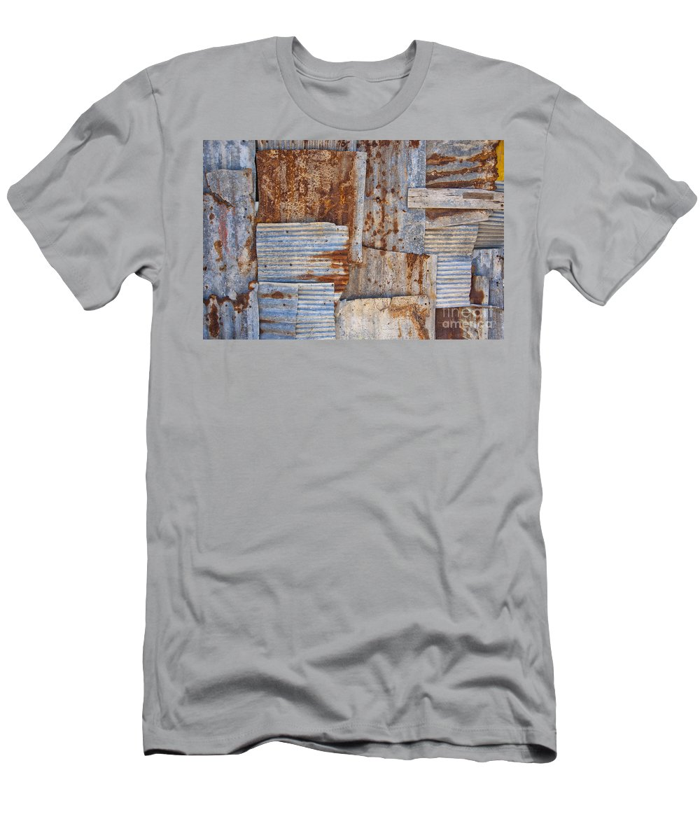 Iron Men's T-Shirt (Athletic Fit) featuring the photograph Corrugated Iron Background by Antony McAulay