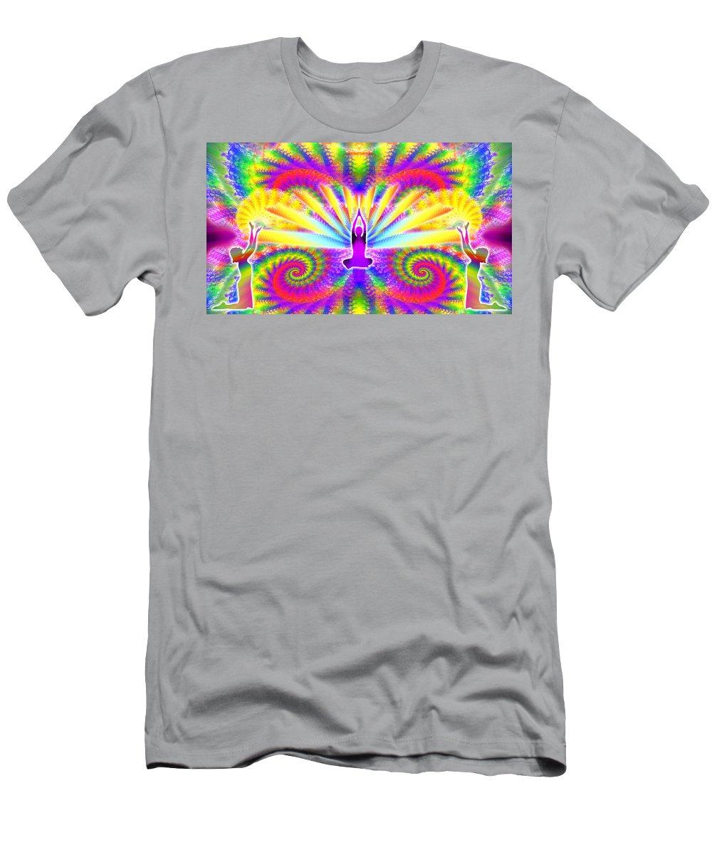 Cosmic Spiral Ascension Men's T-Shirt (Athletic Fit) featuring the digital art Cosmic Spiral Ascension 09 by Derek Gedney