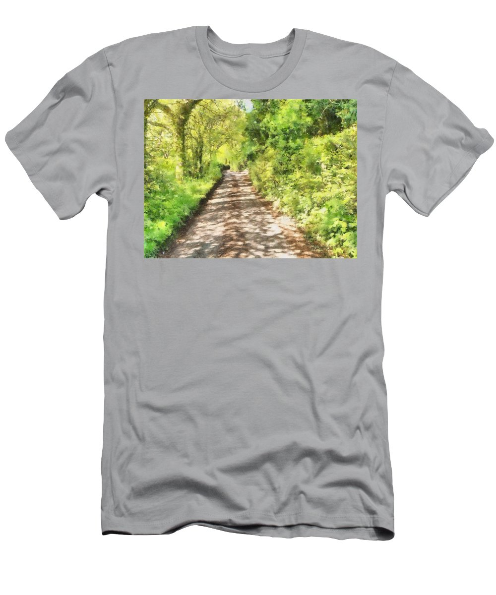 Art Men's T-Shirt (Athletic Fit) featuring the mixed media Country Lane Watercolour by Roy Pedersen