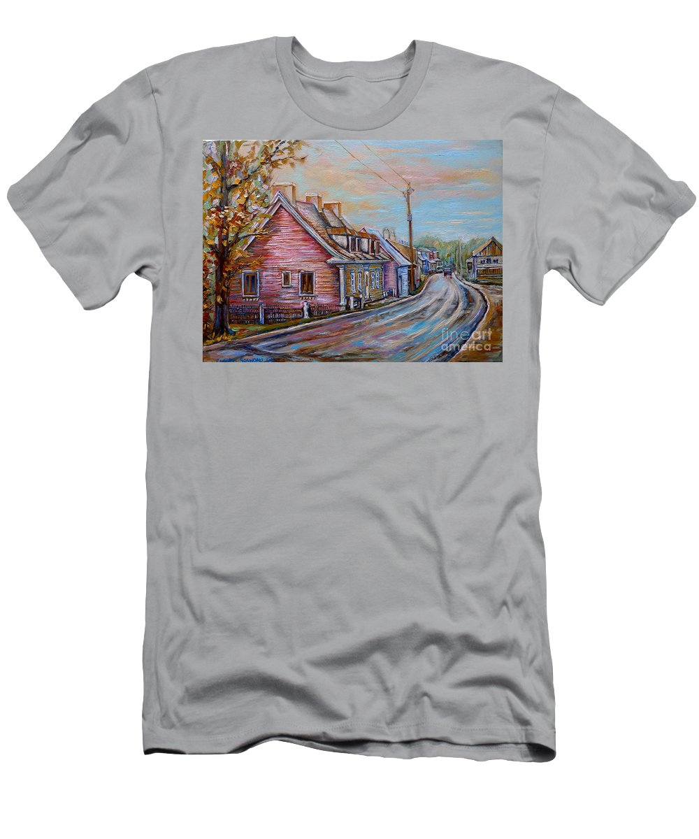 Ile D'orleans Men's T-Shirt (Athletic Fit) featuring the painting Country Road Pink House by Carole Spandau