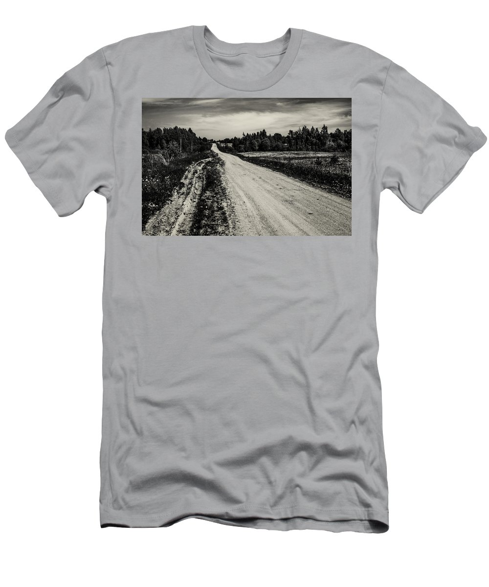Landscape Men's T-Shirt (Athletic Fit) featuring the photograph Country Road Take Me Home 1. by Jenny Rainbow