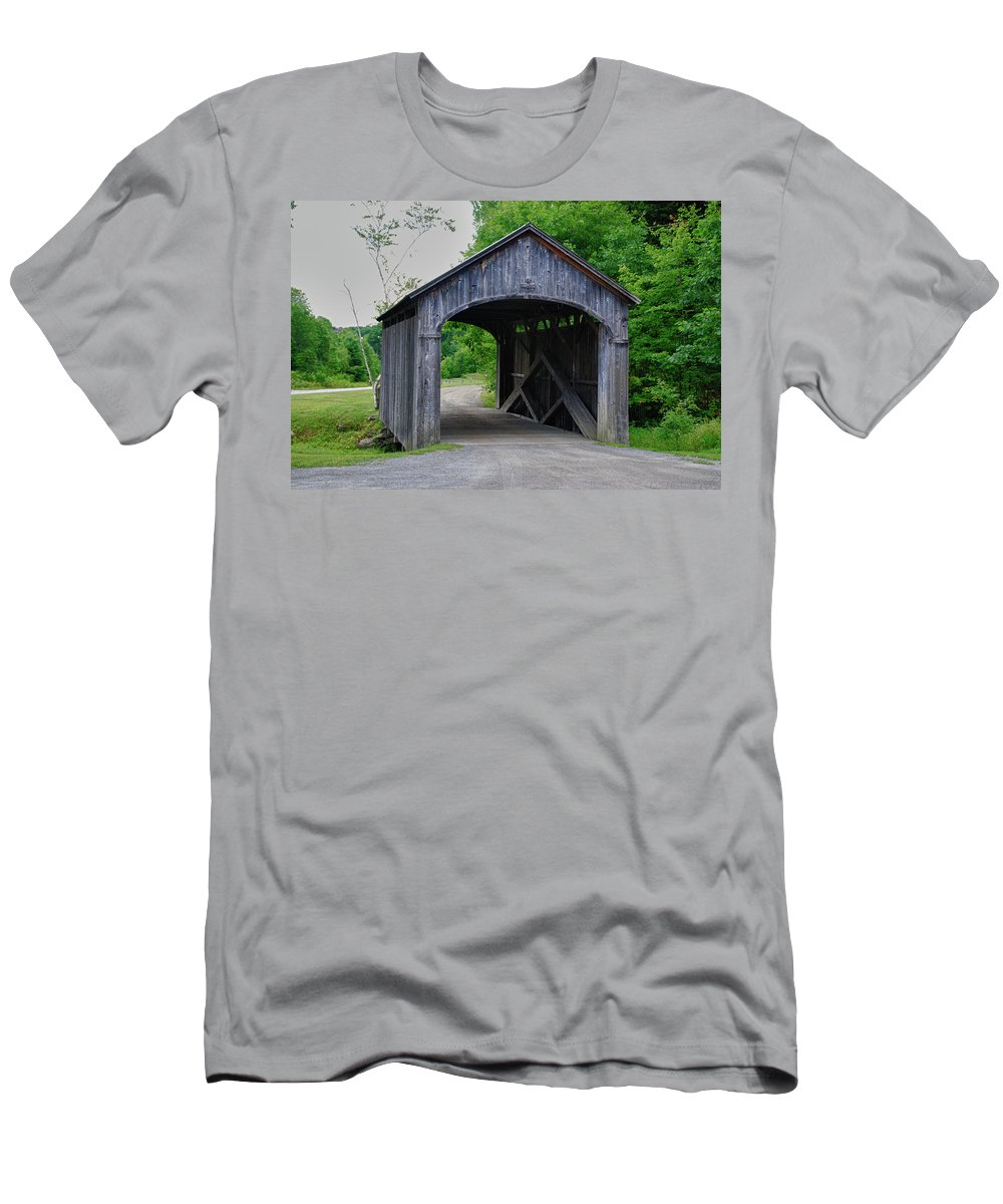 Covered Bridge Men's T-Shirt (Athletic Fit) featuring the photograph Country Store Bridge 5656 by Guy Whiteley