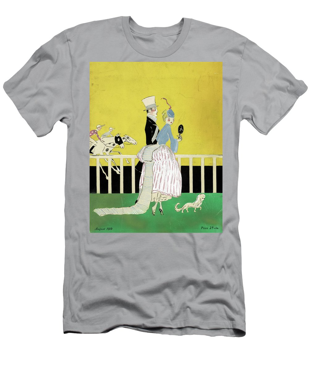 1916 Men's T-Shirt (Athletic Fit) featuring the drawing Couple At The Races, 1916 by Granger