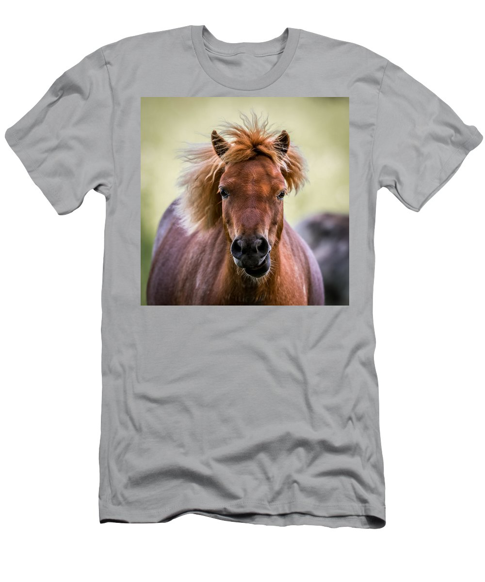 Horse Men's T-Shirt (Athletic Fit) featuring the digital art Crazy Mane by Paul Freidlund