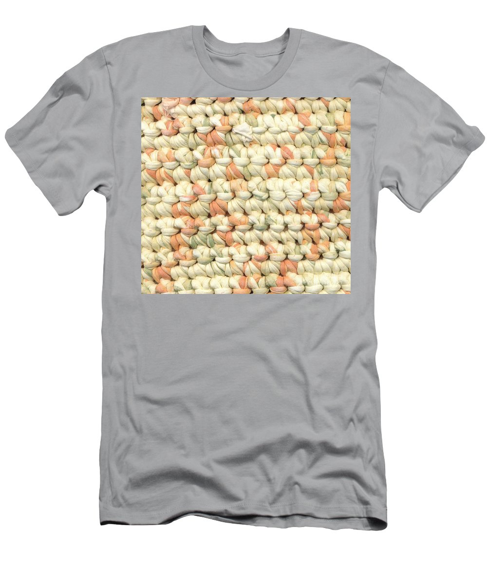 Pastels Men's T-Shirt (Athletic Fit) featuring the tapestry - textile Crochet Rag Rug In Pastel Colours by Kerstin Ivarsson