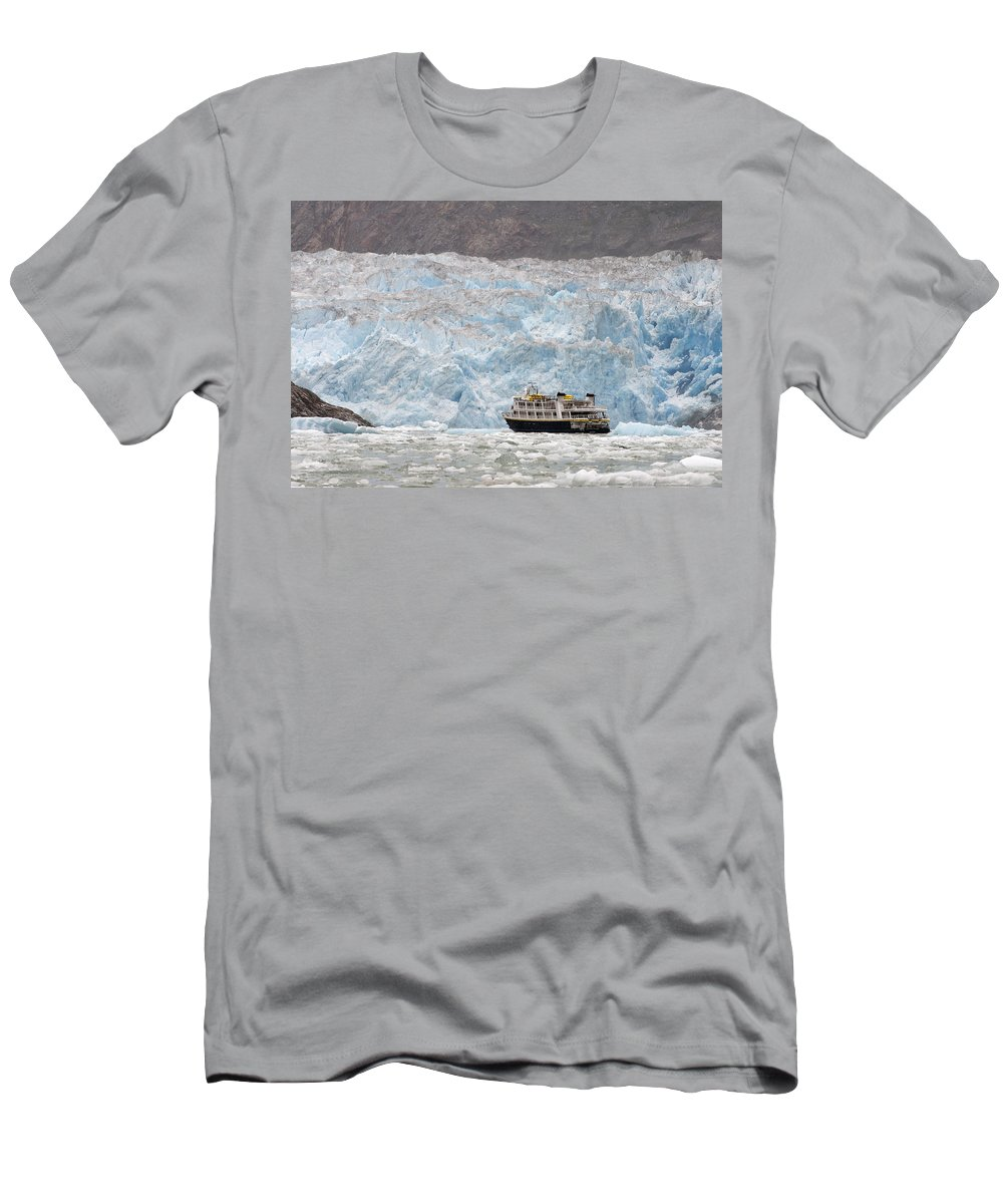 Feb0514 Men's T-Shirt (Athletic Fit) featuring the photograph Cruise Ship Near Glacier Alaska by Flip Nicklin