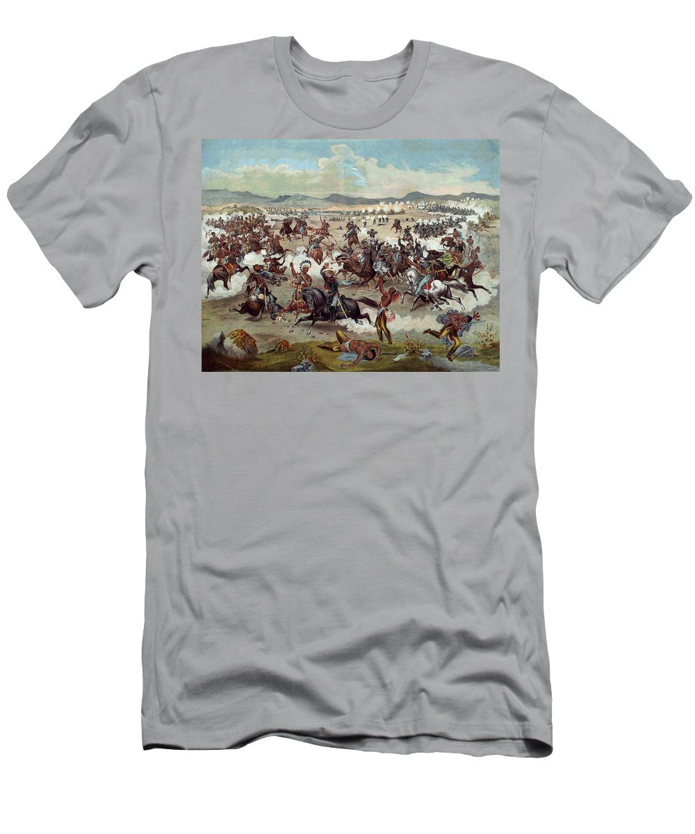 General Custer's Death Struggle Men's T-Shirt (Athletic Fit) featuring the digital art Custer's Last Charge by Unknown